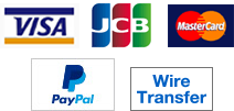 VISA, MasterCard, JCB, PayPal, Bank Wire Transfer (TT/Remittance)